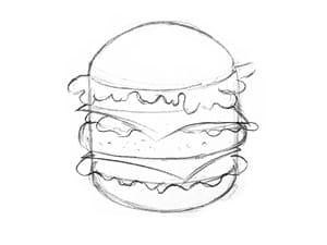 Рисунок гамбургера - этап 3